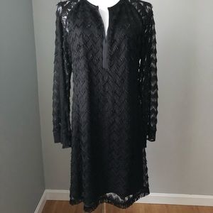 Fringe Black knee-length Dress